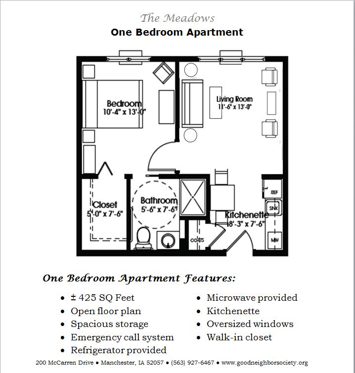 One Bedroom Apartment. 425 Sq Feet; Open Floor Plan ...